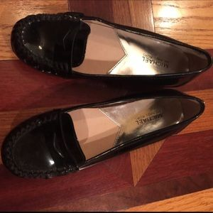 Michael Kors patent black leather loafers